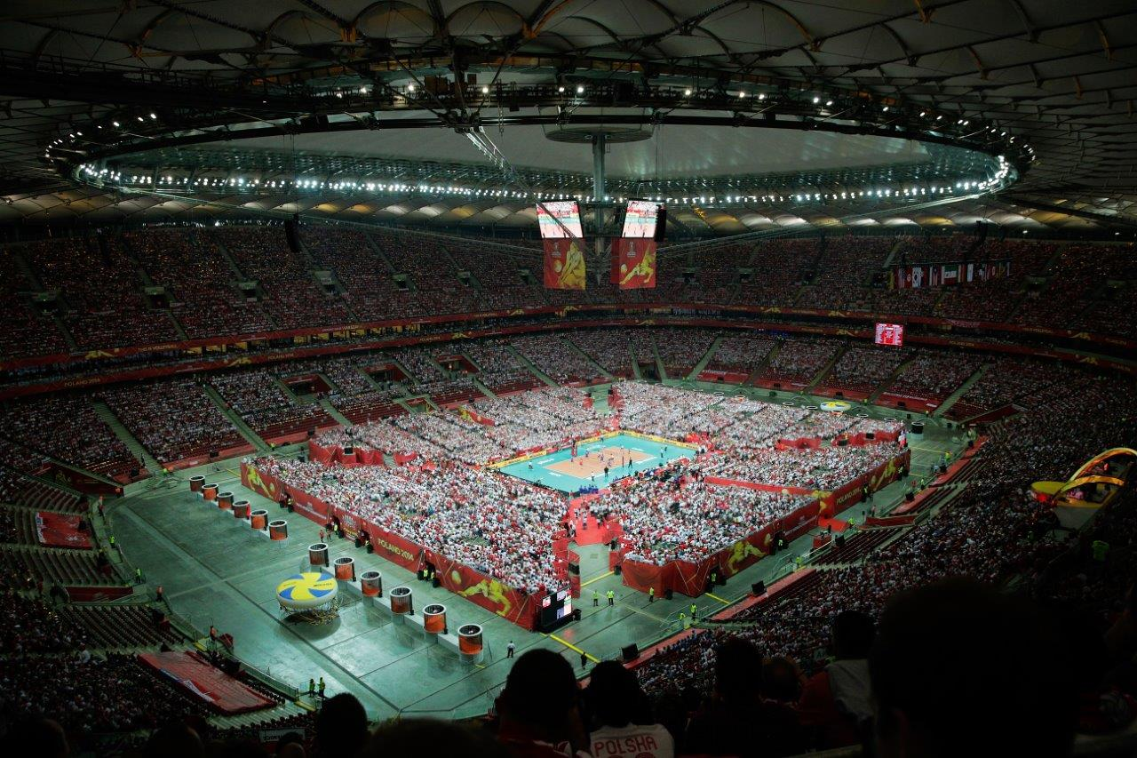 Svetsko prvenstvo u odbojci, Poljska, 30. avgust 2014. godine, Nacionalni stadion u Varšavi, 61.500 gledalaca na utakmici 1. kola Poljska - Srbija